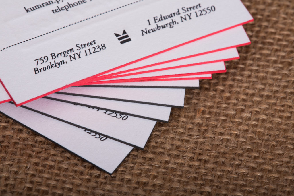 Raghaus custom letterpress business cards with painted edges