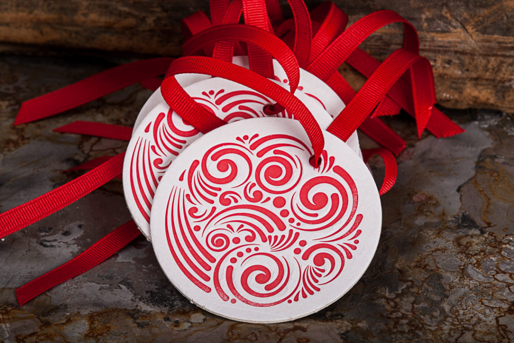 Raghaus custom letterpress beverage coaster ornaments