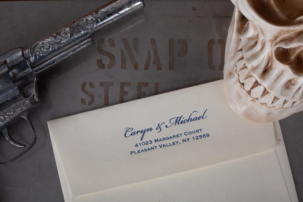 Raghaus custom letterpress wedding invitations and envelopes