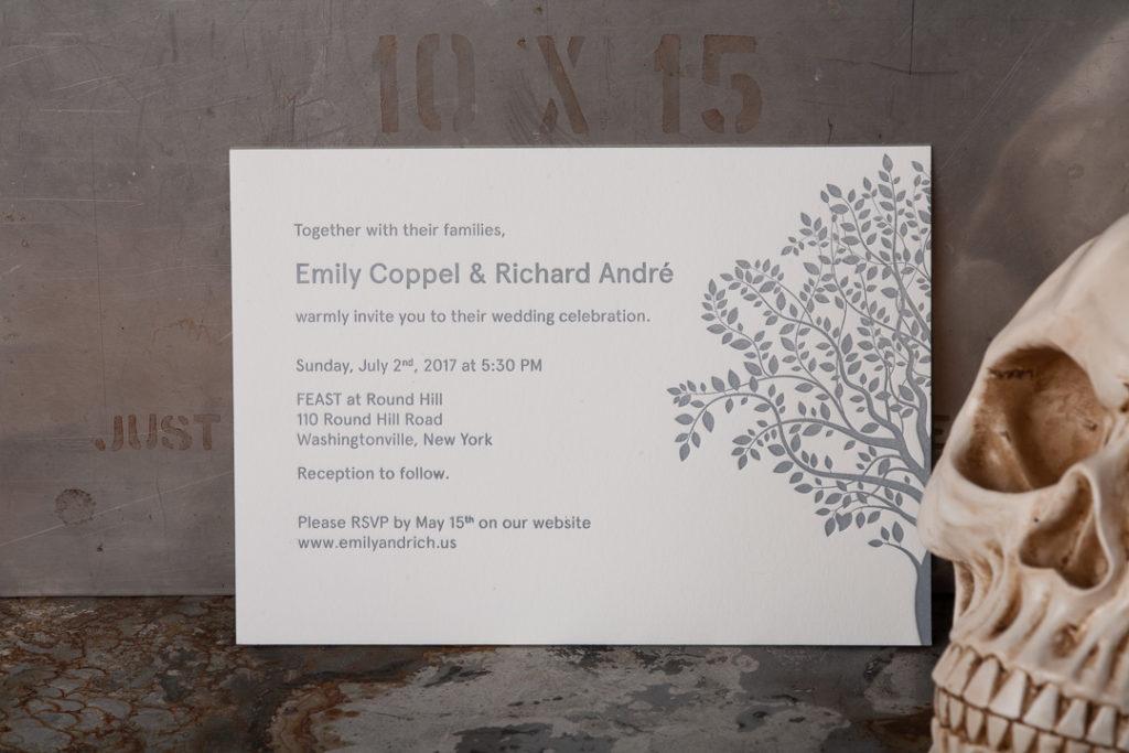 Raghaus custom letterpress wedding invitations